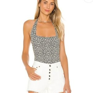 Free People Talk Back Floral Bodysuit Small New